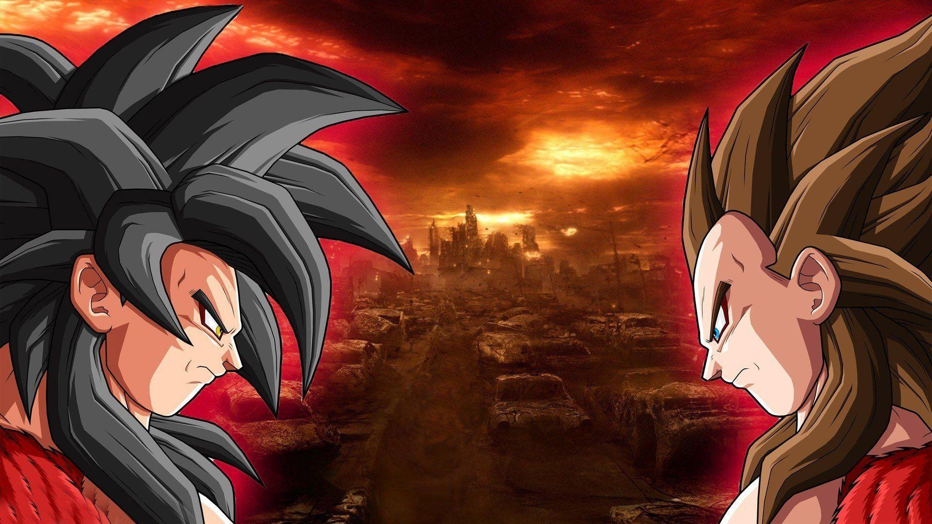 Son Goku et Vegeta Super Saiyan 4